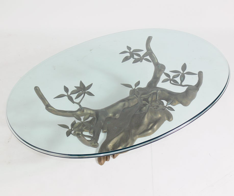 Sculptural Brass Tree Form Coffee Table Base image 4
