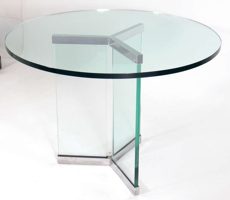 Center Table With Glass : Clean Lined Chrome and Glass Center or Coffee Table by Leon Rosen for ...