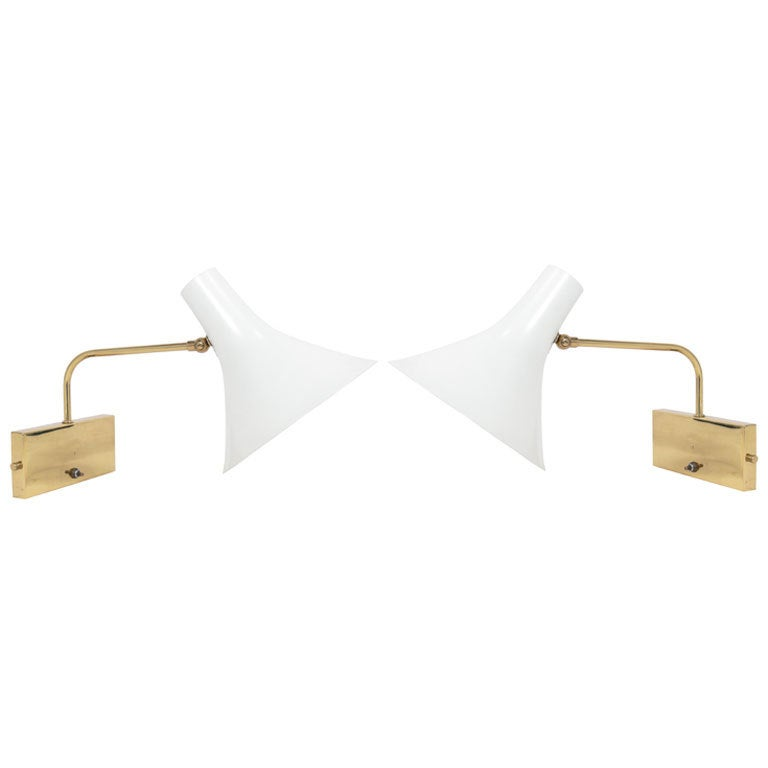 Pair Of Modernist Sconces Attributed To Gerald Thurston At