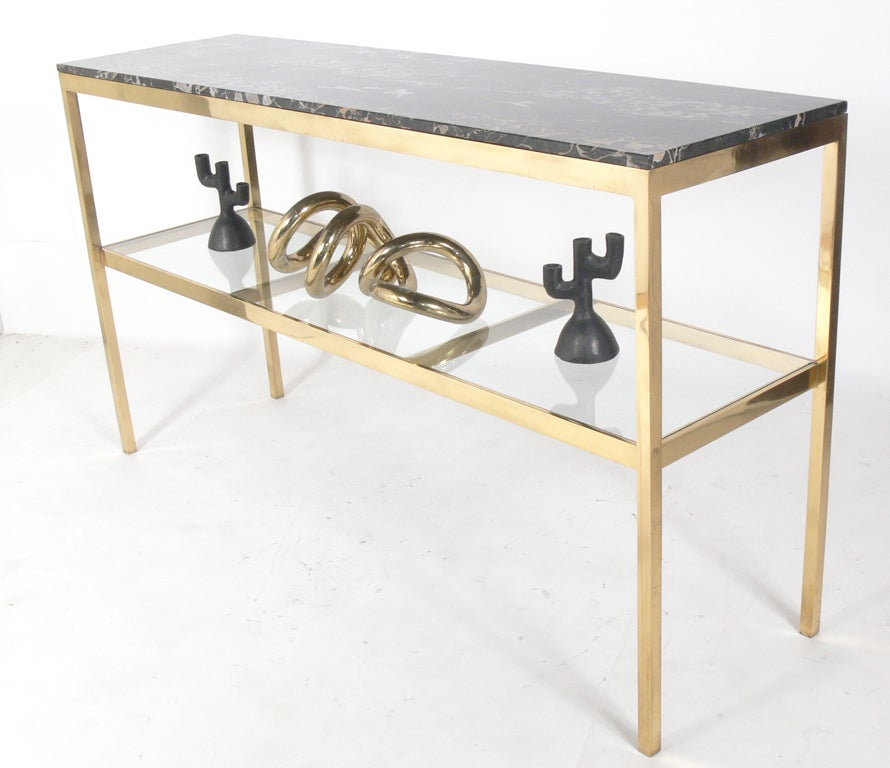Marble Console Table : Substantial Brass and Marble Modern Console Table at 1stdibs