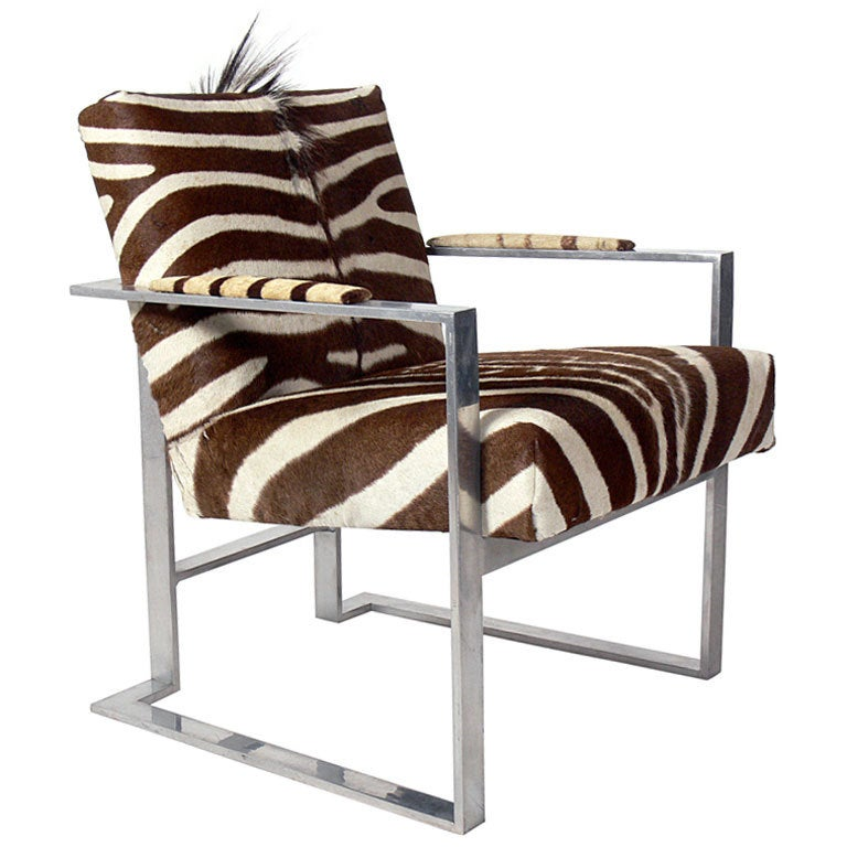 Modernist Lounge Chair In Aluminum And Zebra Hide At 1stdibs
