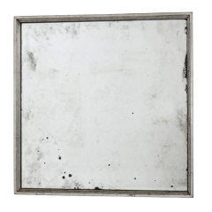 Antiqued Mirror in Graduated Square Silver Leaf Frame