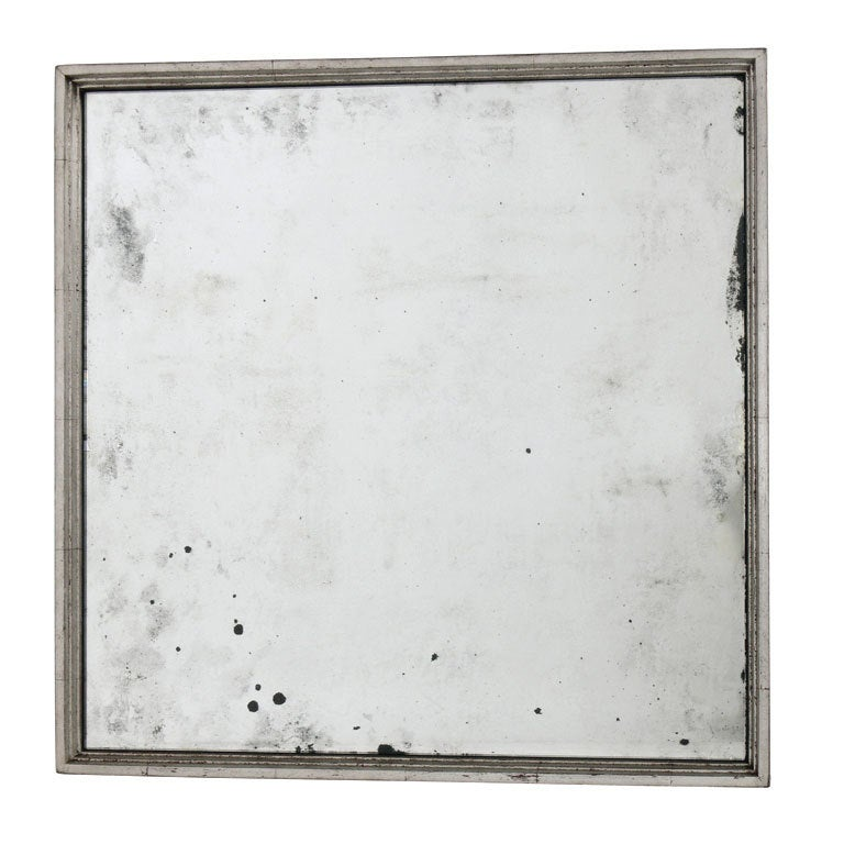 Antiqued mirror in graduated square silver leaf frame for for Silver framed mirrors on sale