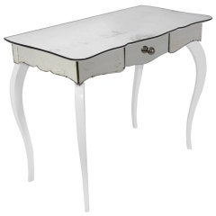 Mirrored and White Lacquer Desk or Vanity