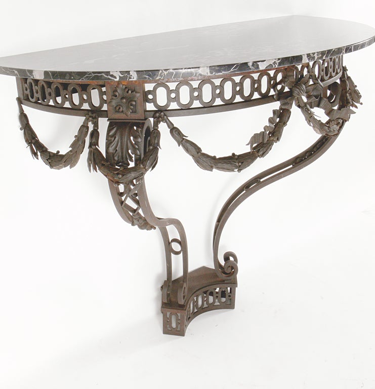 Ornate french iron and marble console table at 1stdibs - Ornate hall table ...