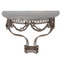 Ornate French Iron and Marble Console Table