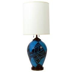 Vibrant Blue French Art Deco Ceramic Lamp