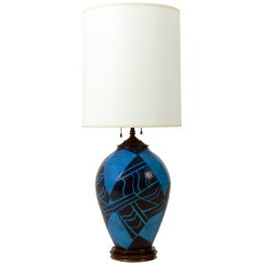 Vibrant Blue French Art Deco Ceramic Lamp