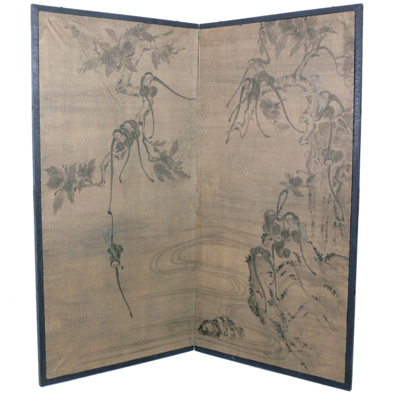 Hand Painted Asian Screen