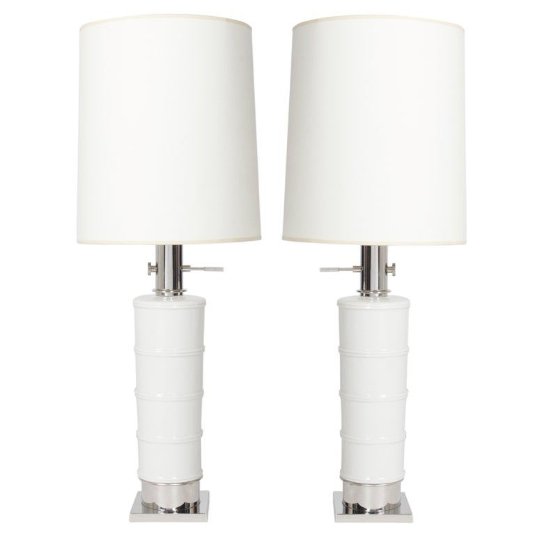 Pair of White Ceramic Lamps with Nickel Fittings
