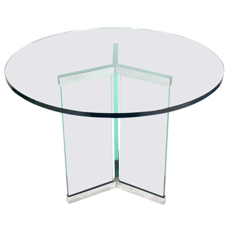 Clean Lined Chrome and Glass Center or Coffee Table by Leon Rosen for Pace