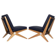 Pair of Scissor Chairs after Pierre Jeanneret