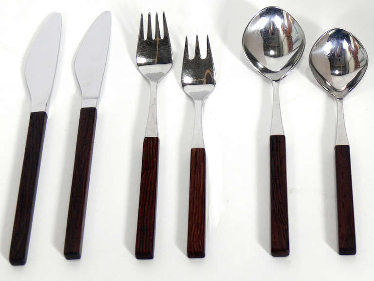 """""""Opus"""" Stainless Flatware Service for 12, designed by Tias Eckhoff for Lundtofte, Denmark, circa 1960's."""