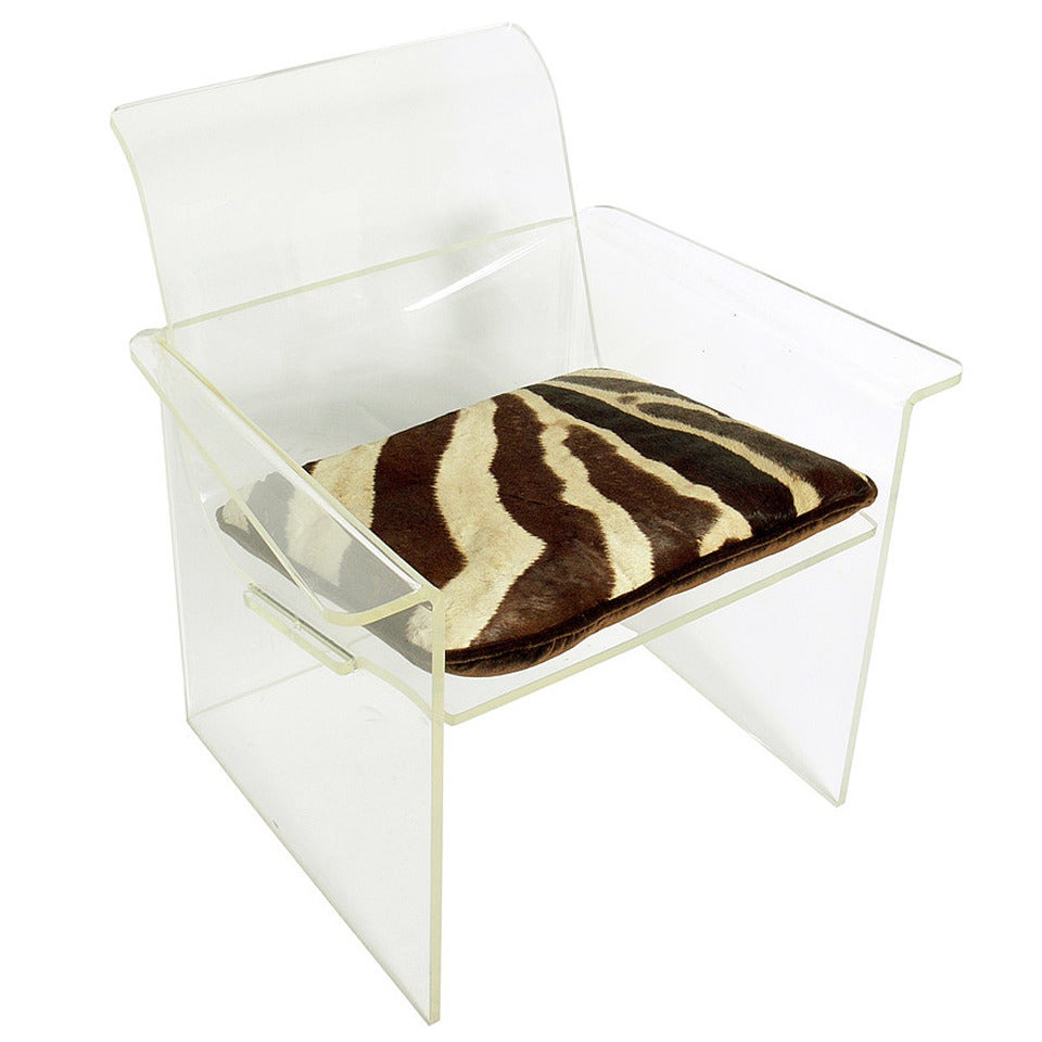 Lucite Lounge Chair with Zebra Hide Cushion