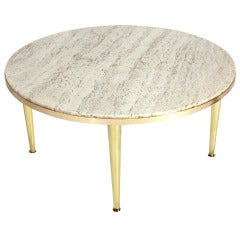 Modernist Italian Brass and Travertine Coffee Table