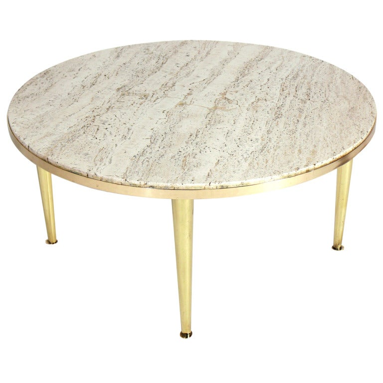 Modernist Italian Brass And Travertine Coffee Table For