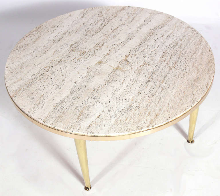 Mid-Century Modern Modernist Italian Brass and Travertine Coffee Table For Sale
