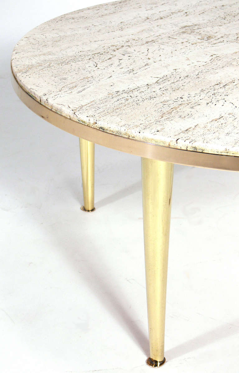 Modernist Italian Brass and Travertine Coffee Table In Excellent Condition For Sale In Atlanta, GA