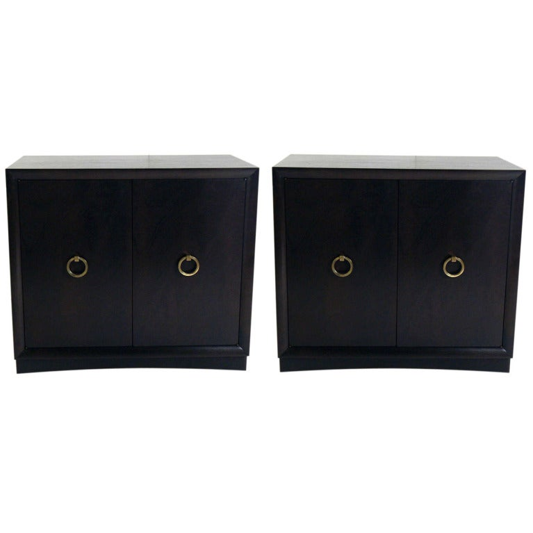 Pair of T.H. Robsjohn-Gibbings Credenzas or Cabinets with Brass Ring Pulls