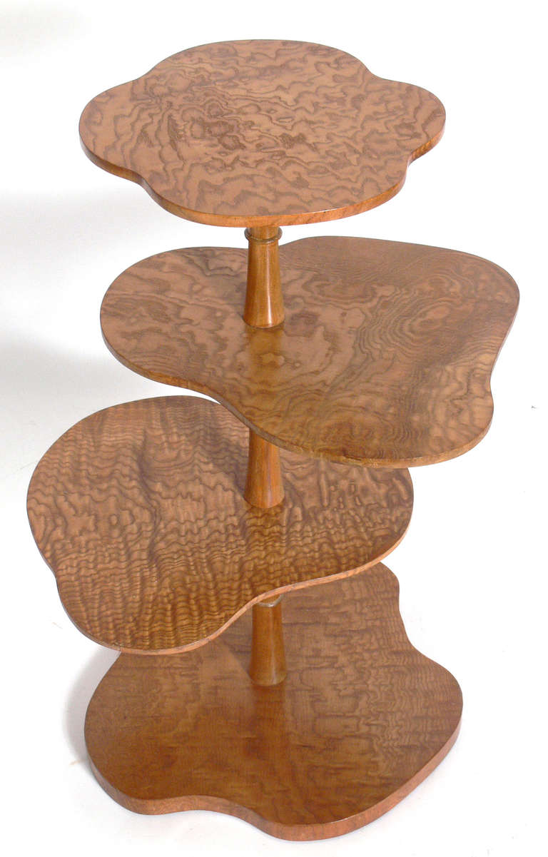 Biomorphic Tiered Olive Ash Burl Wood Table By Johan Tapp 2