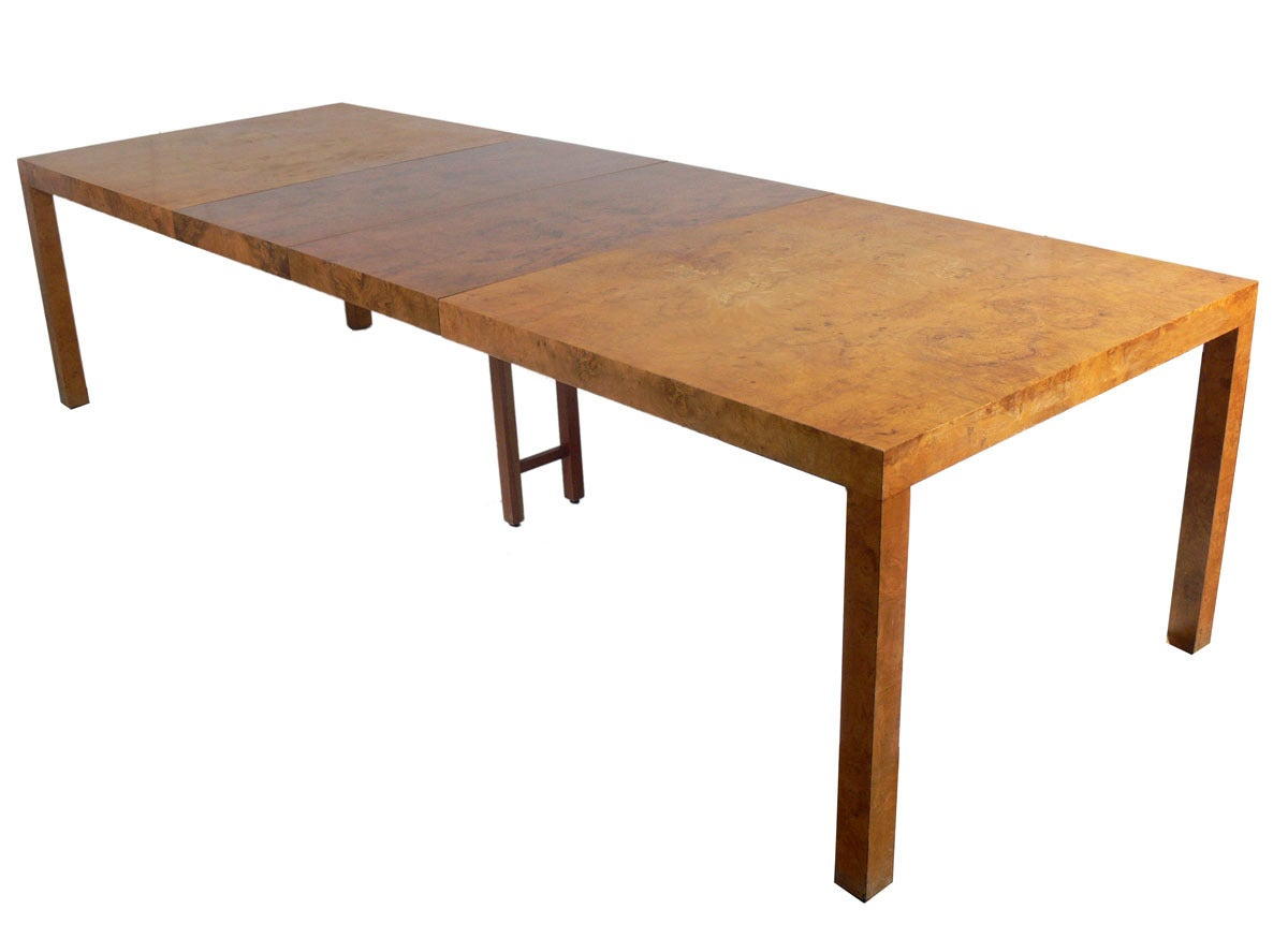 olive ash burled wood dining table by milo baughman at 1stdibs