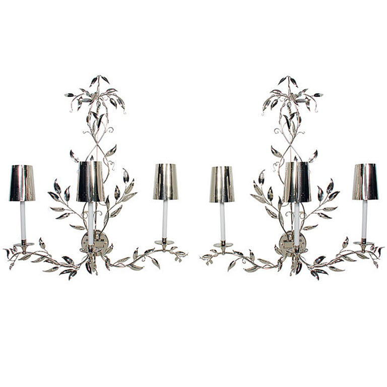 Pair of Glamorous Large Scale Nickel Sconces