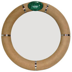 Sculptural Malachite and Suede Mirror by Gene Jonson and Robert Marcius
