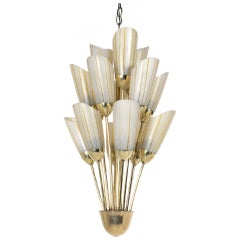 Petite Italian Brass and Glass Chandelier