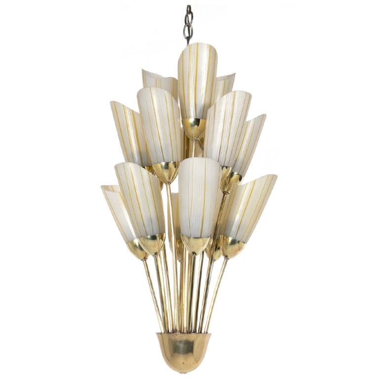 Petite Italian Brass and Glass Chandelier