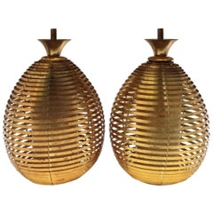 Brass Beehive Pendant Light Fixture