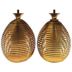 Pair of Brass Beehive Pendant Light Fixtures