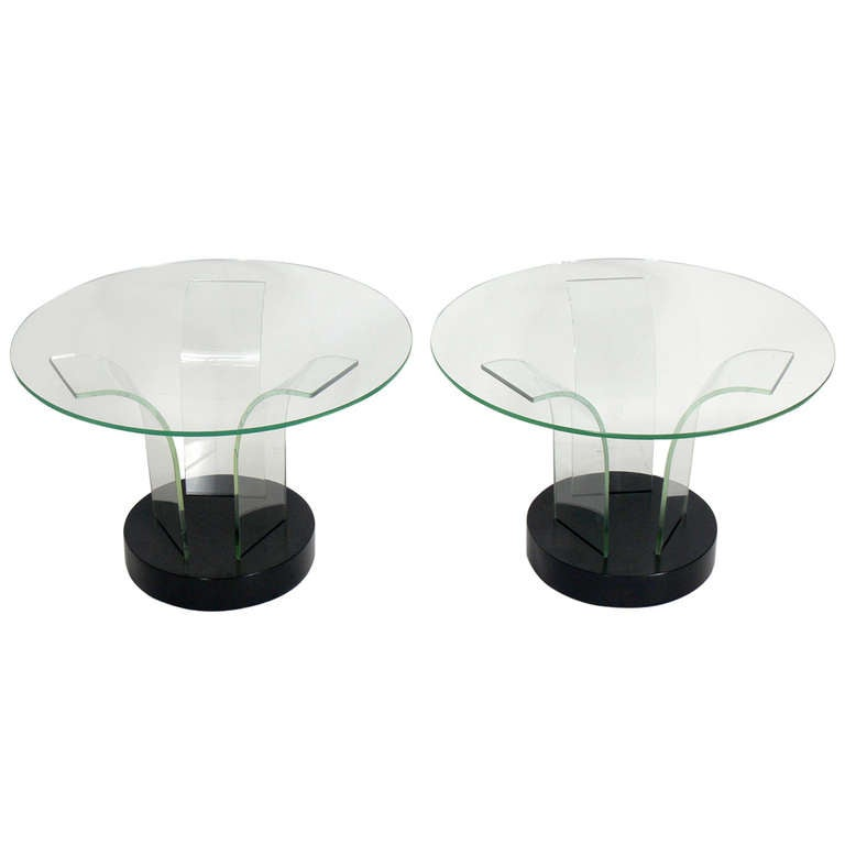 Pair of Sculptural Glass End Tables by Modernage