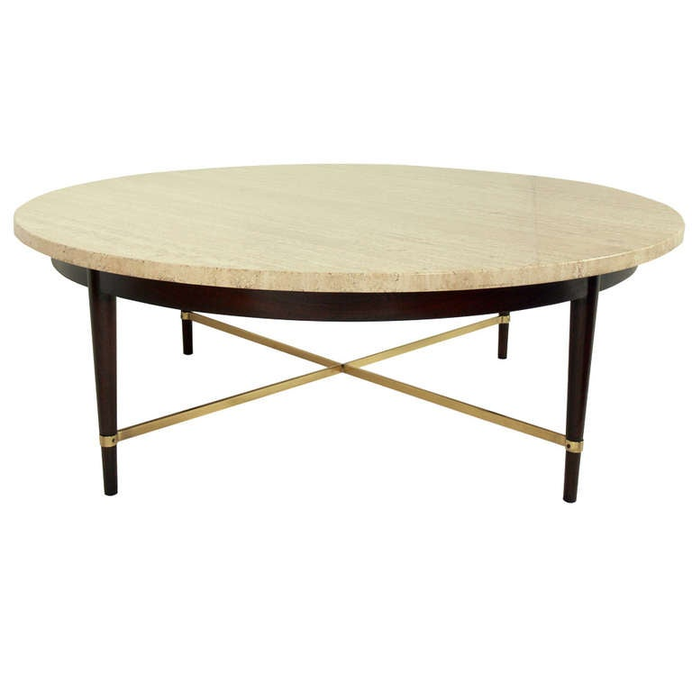 Round Travertine And Brass Coffee Table By Paul McCobb At