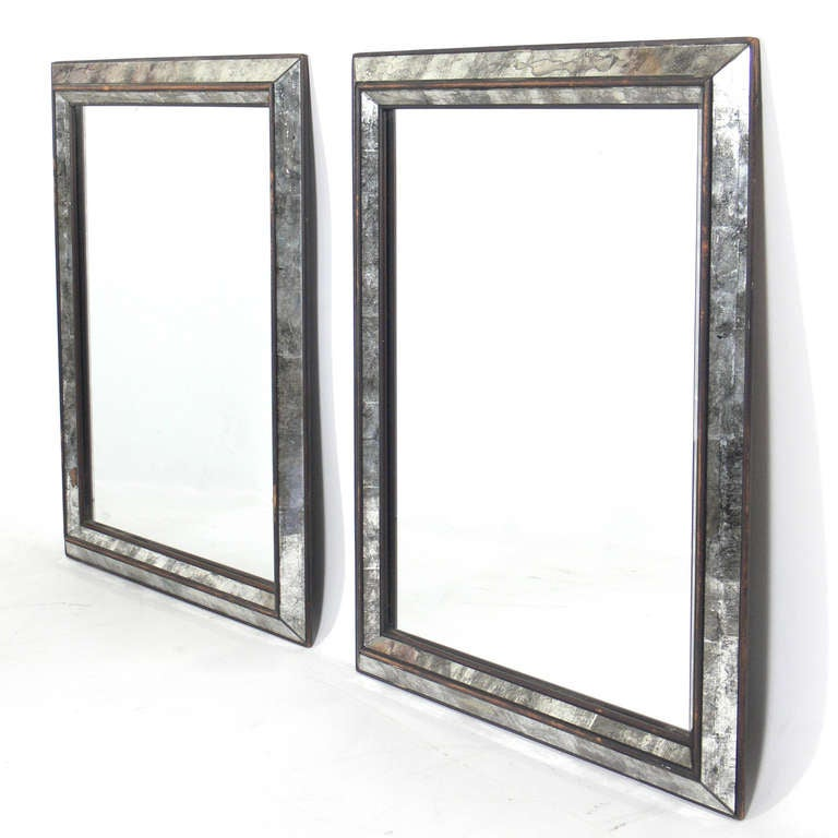 Pair Of Clean Lined Antiqued Mirrors At 1stdibs