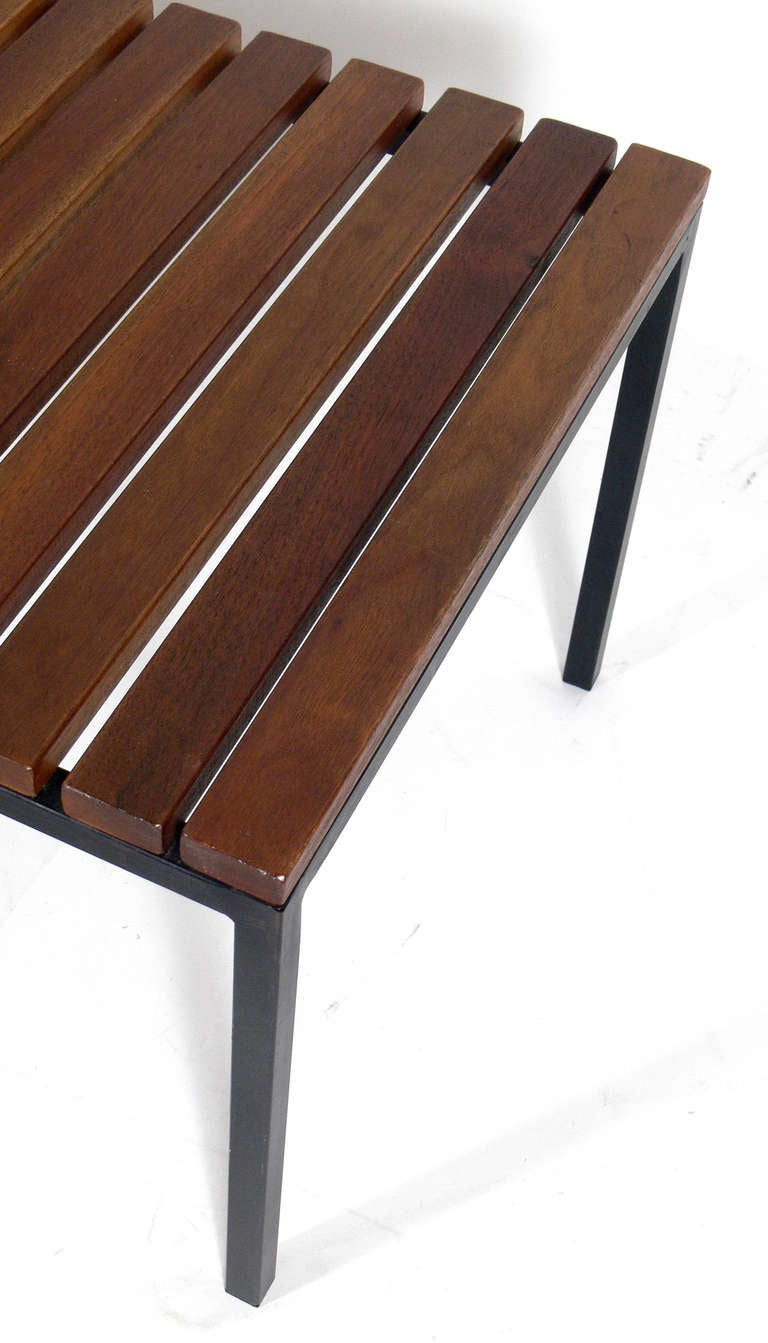 Clean Lined Walnut And Iron Slat Bench By Knoll At 1stdibs