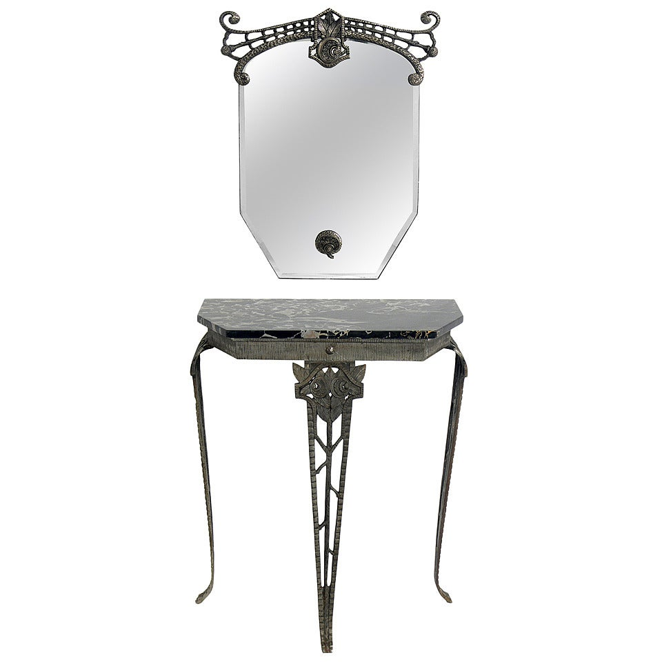 french art deco iron console table and mirror 1