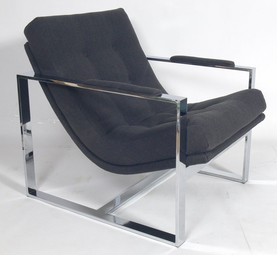 Chrome Lounge Chair by Milo Baughman at 1stdibs