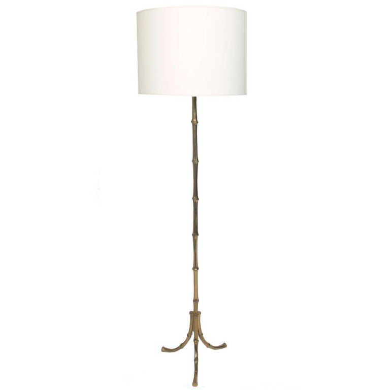 Brass Faux Bamboo Floor Lamp after Maison Bagues at 1stdibs