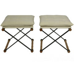 Pair of X Form Iron and Faux Bamboo Stools