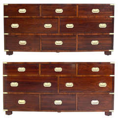 Pair of Large Rosewood Campaign Chests