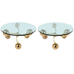 Pair of Brass Molecular Modern Tables