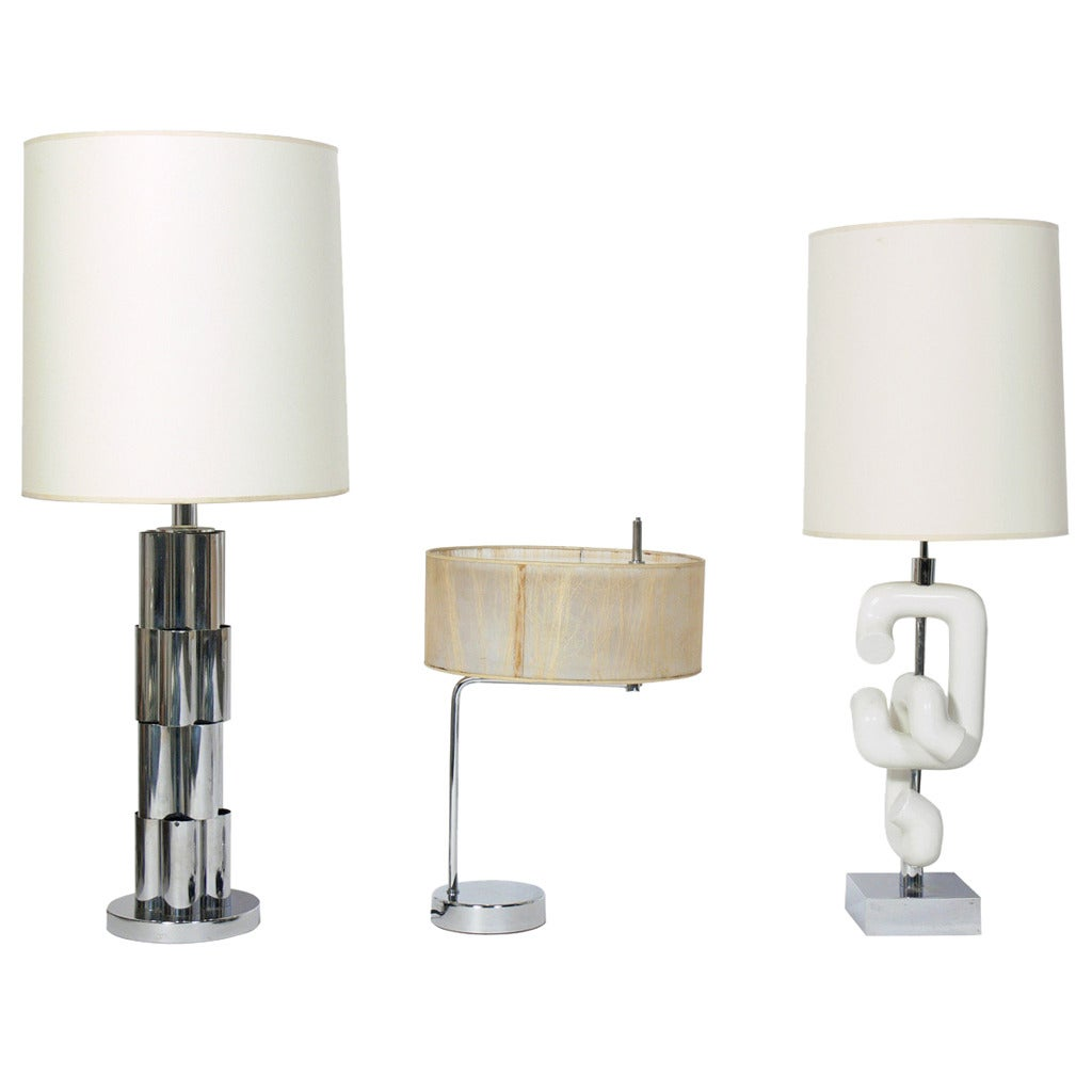 Selection of Modernist Chrome and White Lamps