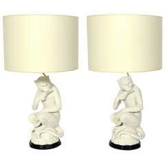 Italian White Ceramic Monkey Lamps