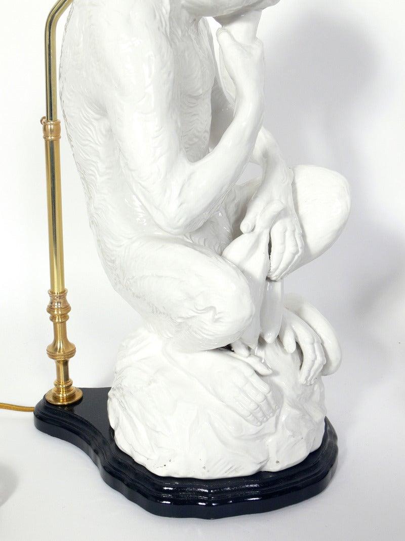 Hollywood Regency Italian White Ceramic Monkey Lamps