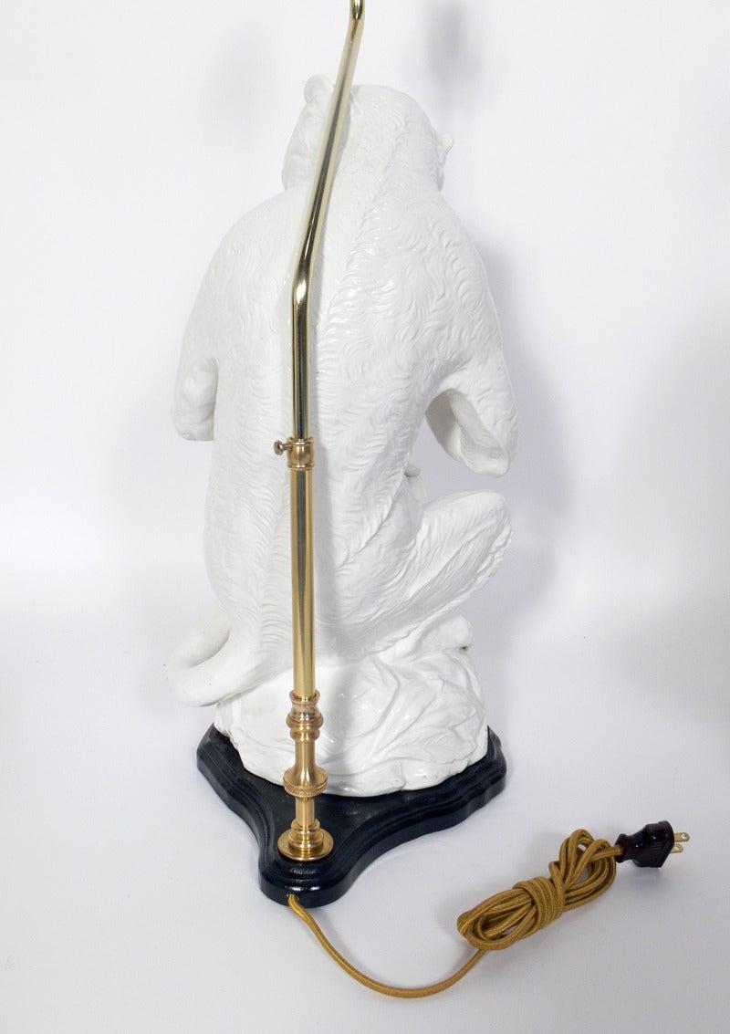 Italian White Ceramic Monkey Lamps In Good Condition In Atlanta, GA