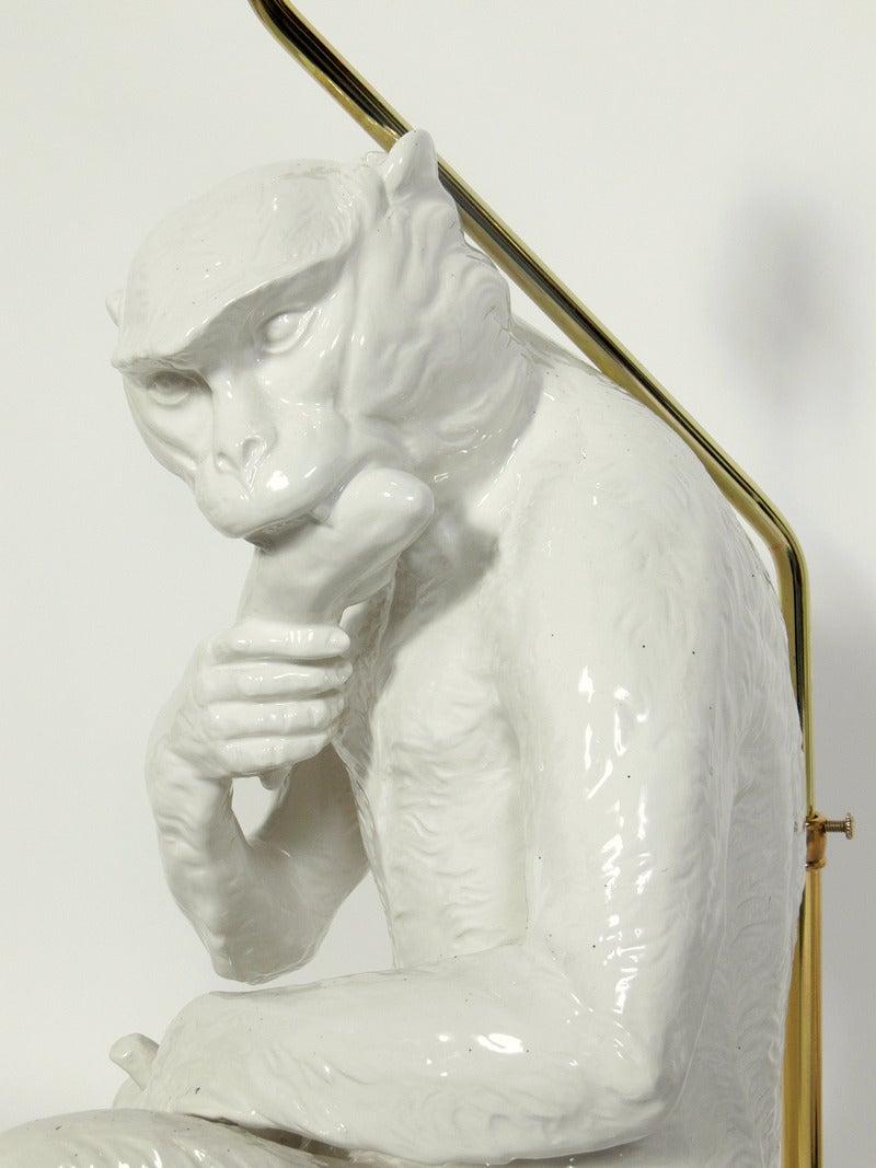 Mid-20th Century Italian White Ceramic Monkey Lamps