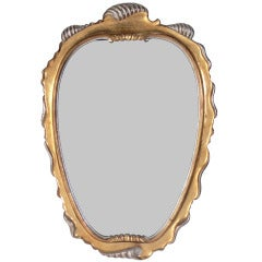 Gilt and Silver Leaf Scrolled Mirror