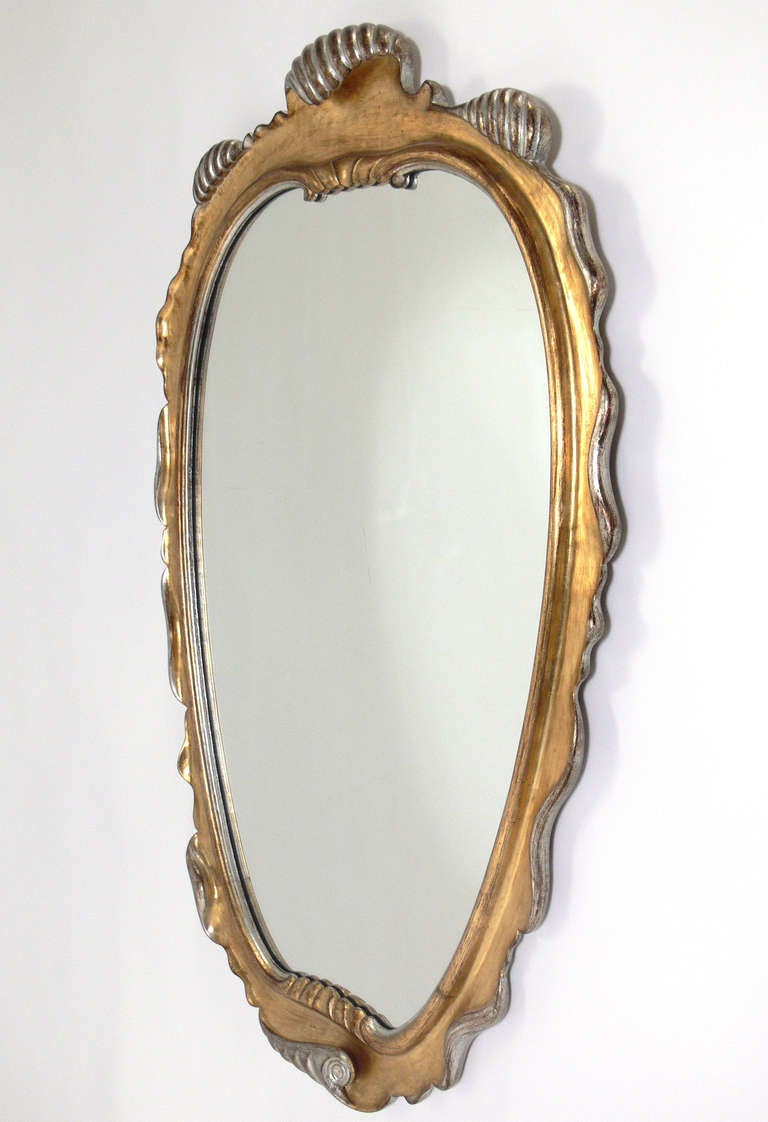 Gilt and silver leaf scrolled mirror for sale at 1stdibs for Silver mirrors for sale