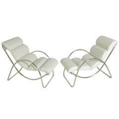 Pair of Low Slung Lounge Chairs