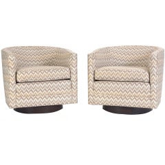 Pair of Milo Baughman Swivel Tub Chairs